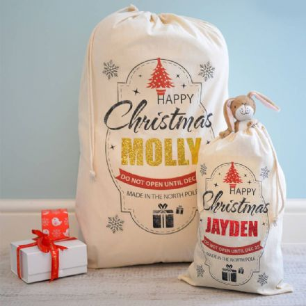 Personalised Christmas Metallic Sack